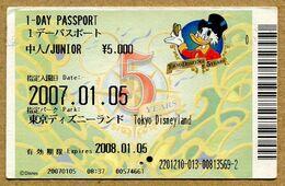 "Japan Passport. Passeport Disney Tokyo Disneyland Du Japon.  ""Picsou - Les 5 Ans - 1 Day"".  Junior. - Disney"