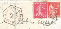 SUR LETTRE  CACHET POSTE RURALE.. GOULIER ET OLBIER..ARIEGE.. HEXAG.1937.. TBE.. - Poststempel (Briefe)