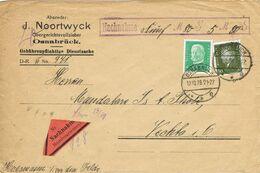 37632. Carta Envio Dinero Nachnahme OSNABRUCK (Alemania Reich) 1928 A Vechta - Covers & Documents