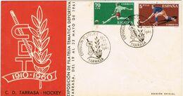 37635. Carta Exposicion Filatelica TARRASA (Barcelona) 1961. C.D.T. HOCKEY Hierba - 1931-Aujourd'hui: II. République - ....Juan Carlos I