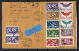 SUISSE Poste Aérienne 1929: LSC De St Gallen Pour Zürich Pour Bern Avec Les ZNr. F3-F12 + 2 F7 Et CAD Forte Cote - Used Stamps