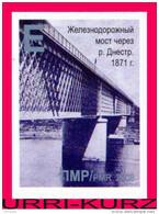 TRANSNISTRIA 2008 Architecture Railway Bridge Through River Dniestr Near Bendery 1871 1v Imperforated Self-adhesive MNH - Bruggen