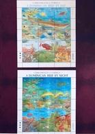 DOMINIQUE 1992 2 Bloc De 30 V Neuf ** MNH Récif Le Jour Et La Nuit Marine Life Pesce Poisson Fish Pez Fische Of Dominica - Pesci