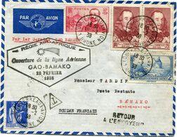 """FRANCE LETTRE PAR AVION AVEC CACHET """" REGIE AIR-AFRIQUE OUVERTURE DE LA LIGNE GAO-BAMAKO 22 FEVRIER 1938 """" - Air Post"""