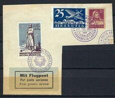 SUISSE 1924:  Fragment Avec Vignette ZNr.10 , Affr. à 45c. Avec Les ZNr. F8 Et ZNr.154, CAD Spécial - Brieven En Documenten
