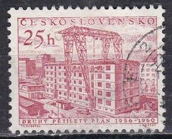 Cecoslovacchia, 1956 - 25h Building Construction - Nr.733 Usato° - Czechoslovakia