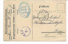 WW1-Plutot Rare Cachet Convoyeur SENS A FOIX  4 SEPT 17 Sur Carte De Prisonnier Camp De LANDSHUT Avec Censure - Storia Postale