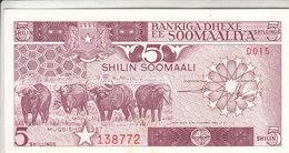 SOMALIA 5 SHILLINGS 1987 P 31c AU/UNC - Somalie