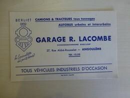 BERLIET Garage LACOMBE, ANGOULEME Lot De 2 Buvards,  Ref 1723 ; BU 02A - Blotters