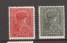 5-YU-KR   1933  255-56  JUGOSLAVIJA JUGOSLAWIEN   Scoutismo TRONVOLGER PETAR   LUKS MNH - Neufs