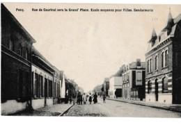Pecq. Rue De Courtrai Vers La Grand' Place. École Moyenne Pour Filles. Gendarmerie - Pecq
