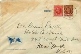 UK. 1 L. Post Stamps Cancelled Deutsch-Amerikanische Seepost Hamburg-New York  Paquebot Deutschland    1936 - Marcofilie