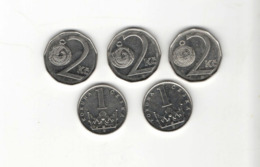 ANTIQUE LOT 5 COIN PIECE MONNAIE CZECH R. CESKA TCHEQUIE 1, 2 KORUNA 1994-98 (10 - Repubblica Ceca