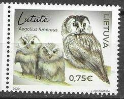 LITHUANIA, 2020, MNH, BIRDS, OWLS,1v - Uilen