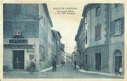 """9108 """"BAGNI DI CASCIANA-PIAZZA CARLO MINATI E VIA XX SETTEMBRE""""ANIMATA-PUBBLICITA' STREGA -CART. POST. ORIG. SPED. 1936 - Pisa"""