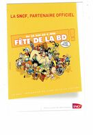 Cpm - Fête De La BD - Publicité SNCF - ILLUSTRATION Astérix Obélix Spirou Spiderman Lucky Luke Moto - Cómics