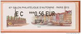 VIGNETTE LISA 2 - SALON PHILATELIQUE D'AUTOMNE - PARIS 2013  - MENTION 0,56 EUR ECOPLI - NEUF - 2010-... Illustrated Franking Labels