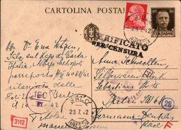! Ganzsache Italien 1942, Salo, Lago Di Garda, OKW Zensurstempel, Censure, Censor, Censura, Nach Berlin Gelaufen - 1900-44 Vittorio Emanuele III