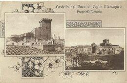 """9118 """"CASTELLO DEL DUCA DI CEGLIE MESSAPICA-PROPRIETA' VERUSIO """"2 VEDUTE CON DECORI FLOREALI-CART. POST. ORIG. SPED.1939 - Brindisi"""