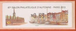 VIGNETTE LISA 1 - SALON PHILATELIQUE D'AUTOMNE - PARIS 2013  - MENTION 0,63 EUR - NEUF - 2010-... Illustrated Franking Labels