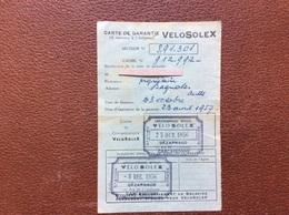 VELOSOLEX *Carte De Garantie  CARCASSONNE BAGNOLES  Année1956 - Motorfietsen