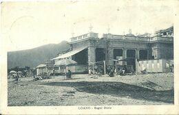 "9124 "" LOANO-BAGNI DORIA ""ANIMATA-SPIAGGIA -CART. POST. ORIG. SPED.1928 - Savona"