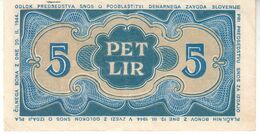 5998    SLOVENIJA  SNOS  5 LIR   1944 - Slovenia