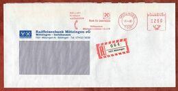 Einschreiben Reco, Absenderfreistempel, Raiffeisenbank Moetzingen-Iselshausen, 280 Pfg, 1985 (97363) - Marcofilia - EMA ( Maquina De Huellas A Franquear)