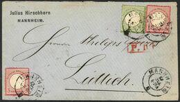 MANNHEM 23jul 1872 Nach  LUTTICH ( LIEGE)  Briefmarken Mi N° 7 + Mi N°9 (2) - Germany