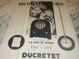 ANCIENNE PUBLICITE EN CLIN D OEIL  DUCRETET 1932 - Radio & TSF