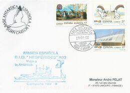 """Lettre Brise-glace """"Hespérides"""" Avec Timbres Espagne N°2790, 2794 Et 2799 - Cachet Du 31/12/1999 - Polar Ships & Icebreakers"""