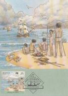 Australia 1988 Maxicard Sc #1030a 37c Ships, 5 Aborigines On Shore Arrival First Fleet - Cartes-Maximum (CM)