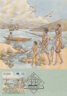 Australia 1988 Maxicard Sc #1030b 37c Ships, 4 Aborigines On Shore Arrival First Fleet - Cartes-Maximum (CM)