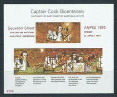 Australia 1970 Captain Cook Miniature Sheet ANPEX Overprint Double Spear Variety MNH - Mint Stamps