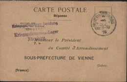 Guerre 14 CP Réponse Accusé Réception Colis Comité Sous Préfecture De Vienne Nuernberg 10 DEZ 16 Censure Camp Nürnberg - Marcofilia (sobres)