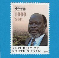 SOUTH SUDAN Surcharged Overprint On 3.5 SSP Dr John Garang Stamp Of The 1st Set SOUDAN Du Sud Südsudan - South Sudan