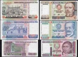 Peru 100.000,500.000  + 1-Million Intis 1989/90 Pick 145,147,148 UNC (1)  (14310 - Bankbiljetten
