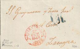 1848-CARTA-PREFILATELIA. TARAZONA A ZARAGOZA. Baeza TARAZONA / ARAGON - ...-1850 Vorphilatelie
