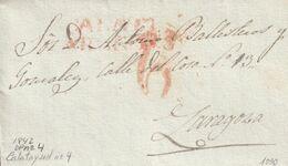 1842-CARTA-PREFILATELIA. CALATAYUD A ZARAGOZA. Marca CALATD / ARAGON (P.E.4) - ...-1850 Vorphilatelie