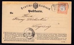 Adler Mit Kleinem Schild ½ Gr. Auf Postkarte (Formular C. 154) Mit R3 HOHENSTEIN - Germany