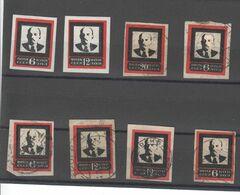 Sowjetunion 1924 , 8 Geschnittene Lenin Trauermarken , 2 Mit Falz , 6 Gestempelt - Oblitérés