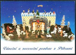 E0369 - Glückwunschkarte Weihnachten - Weihnachtskrippe Krippe - Schnitzkunst - Christmas