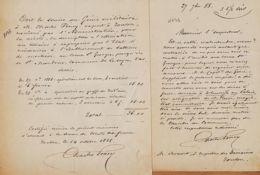 X83078 Facture Expert PONY 14.10.1888 Expropriation Creux St GEORGES Saint MANDRIER Batteries Mortiers + Lettre 27.10 - Manuskripte
