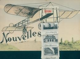 Leporello CPA Douai Nord, Flugzeug, Kaserne, Stadtansichten - France