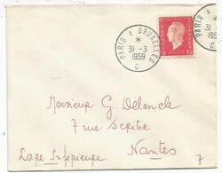 N° 691 USAGE TARDIF LETTRE AMBULANT PARIS A BUXELLES 31.3.1959 C - Correo Ferroviario