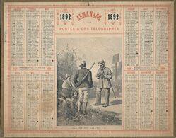 Calendrier Almanach Des Postes - 1892 - Chasse Gardée - Cher (18) - - Groot Formaat: ...-1900