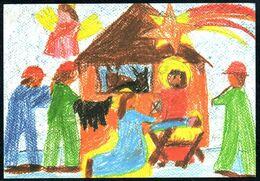 E0409 - Glückwunschkarte Künstlerkarte - Weihnachtskrippe Krippe - SOS Kinderdorf - Holidays & Celebrations