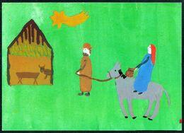 E0414 - Glückwunschkarte Künstlerkarte - Weihnachtskrippe Krippe - SOS Kinderdorf - Holidays & Celebrations