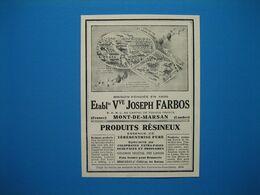 (1929) Produits Résineux (essence De Térébenthine, Goudron Végétal) - Éts Vve JOSEPH FARBOS - Mont-de-Marsan (Landes) - Publicités