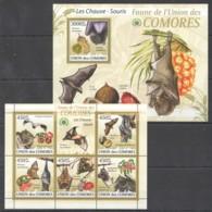 UC007 2009 UNION DES COMORES FAUNA ANIMALS BATS LES CHAUVE-SOURIS 1KB+1BL MNH - Pipistrelli